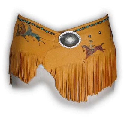 Patricia Wolf Hand Painted Deerskin Wrap Belt