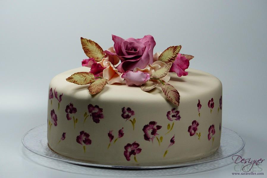 Painted cake with matching sugarflowers