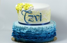 Two tier blue ruffle cake
