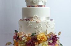Wedding cake with overflowing flowers