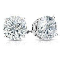 White Gold & Platinum Round Diamond Stud Earrings (0.20-4 ...