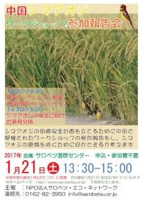 1月21日中国シマアオジワークショップ参加報告会の案内