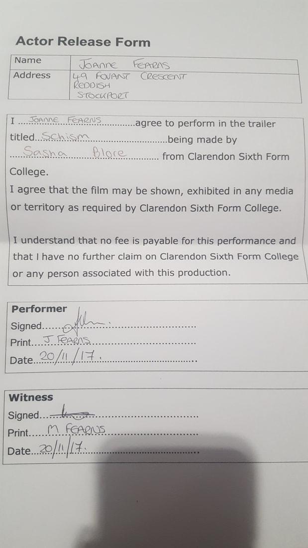 Actor Release Form 1 - Sasha Blore\u0027s A2 Media