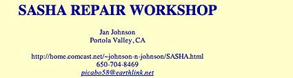 SASHA REPAIR WORKSHOP