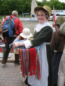 Carol at the Forks in Winnipeg as the David Thompson Brigade arrives