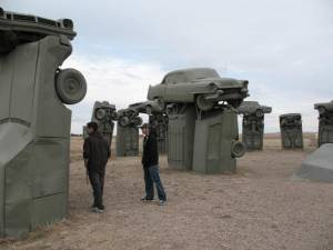 The boys check out Carhenge