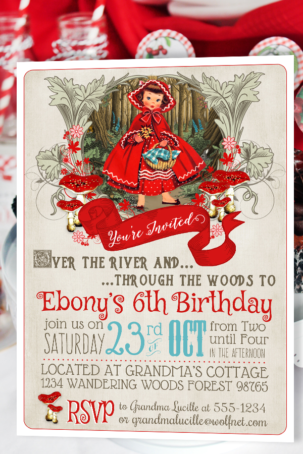 Invitation Template Christmas Party Little Red Riding Hood Invitation