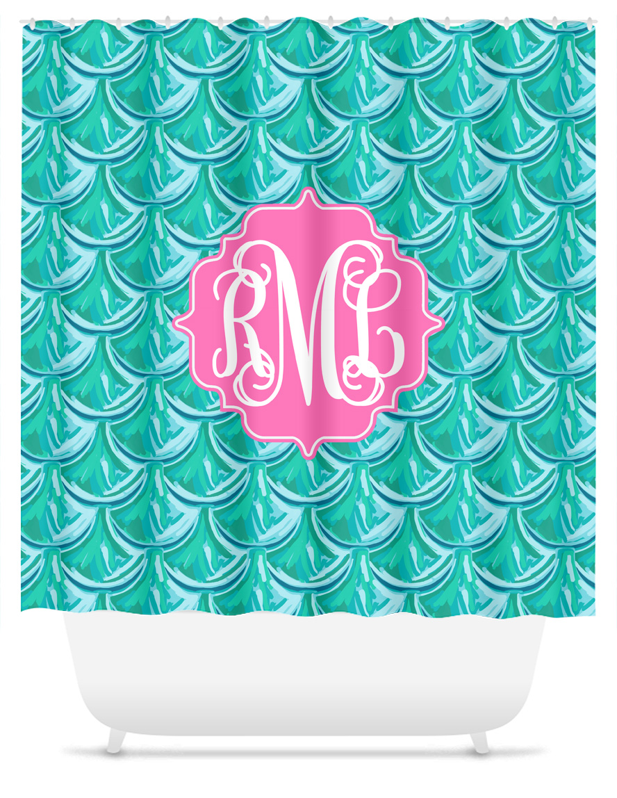 Mermaid Scale Shower Curtain Monogram Shower Curtain Mermaid Scales Blue