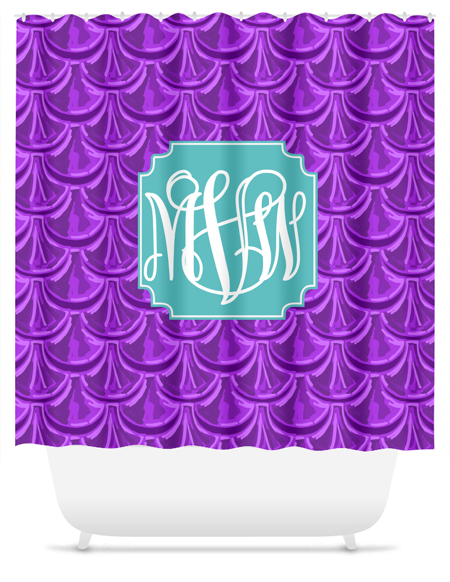 Mermaid Scale Shower Curtain Monogram Shower Curtain Mermaid Scales Purple Sassy Southern Gals