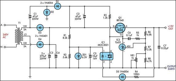 linear mosfet voltage regulator schematic