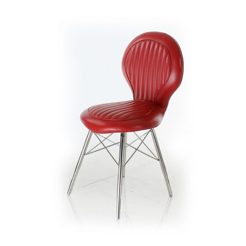 Chaise Design Rouge Chaise Design Cuir Rouge - Artis - Saulaie