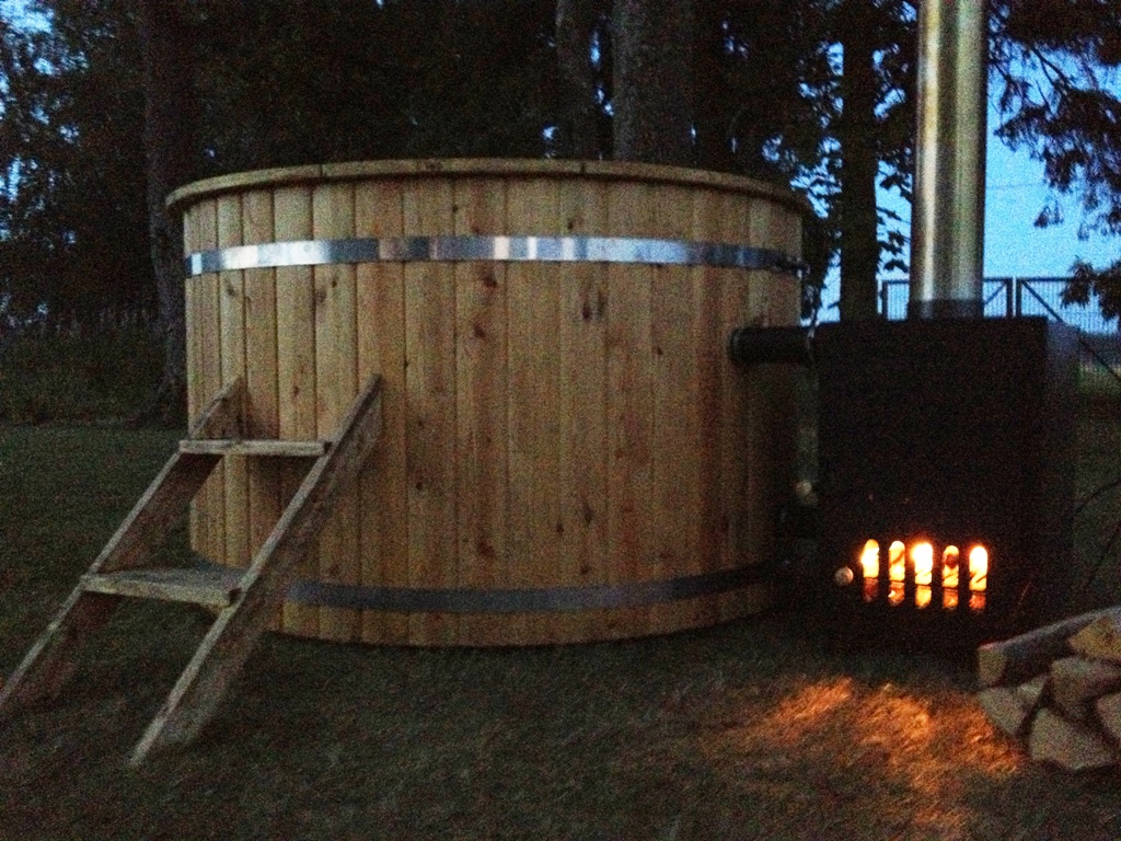 Badetonne Site Wood Burning Hot Tub 1 7 Meter Siberian Larch External