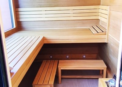 interior sauna with panels wood walls