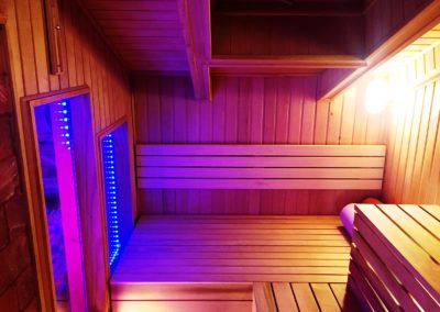sauna on a roof with chromoteraphy