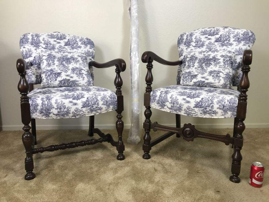 Vintage His And Her Newly Upholstered Chairs With Extra