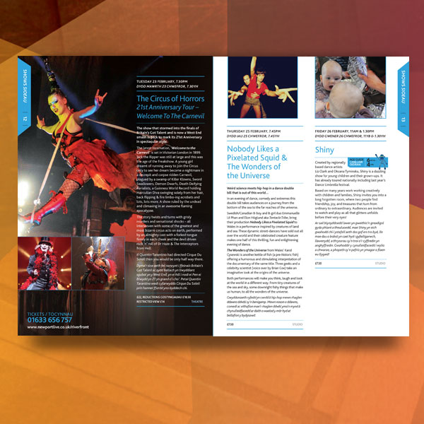 Riverfront Arts Centre Brochure - Savage and Gray Design Ltd - studio brochure