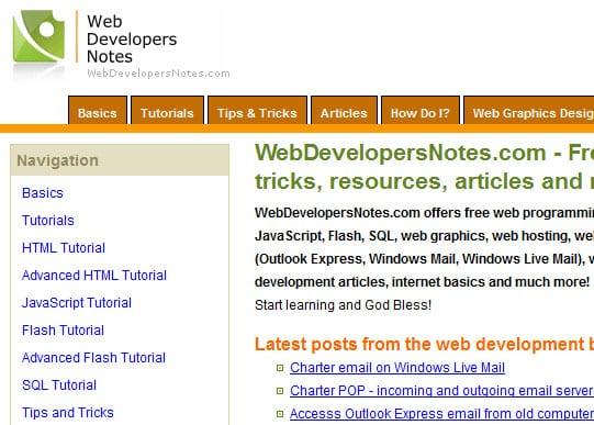 webdevelopernotes 15 Best Websites that can make you a Web Designer