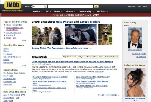 imdb e1275375012171 Top 10 Social Networking Websites For Movie Lovers