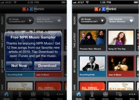NPR music app Top 100 Best Free iPhone 4 Apps