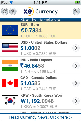 XE Currency Top 100 Best Free iPhone 4 Apps