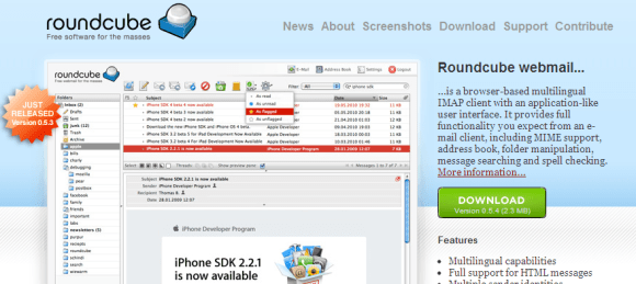 Roundcube Free webmail for the masses 580x259 Top 7 Webmail Software