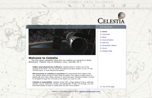 Celestia Home 580x375 8 Best Free Astronomy Software