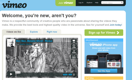 vimeo 450x273 Best Entertainment Websites On The Web in 2011