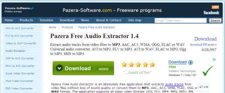 Pazera Free Audio Extractor Convert AVI to MP3 WMA FLAC and other audio formats Jacek Pazera 450x186 5 Best Free Audio   Video Format Conversion Software