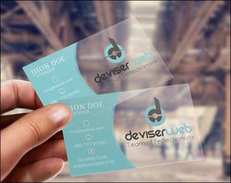 Transparent Plastic Free PSD Business Card Template
