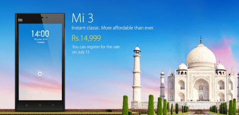 Mi3 from Xiaomi Launched in India for Rs 14,999 Selling starts July 15th