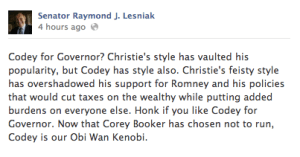 Lesniak Codey Endorsement
