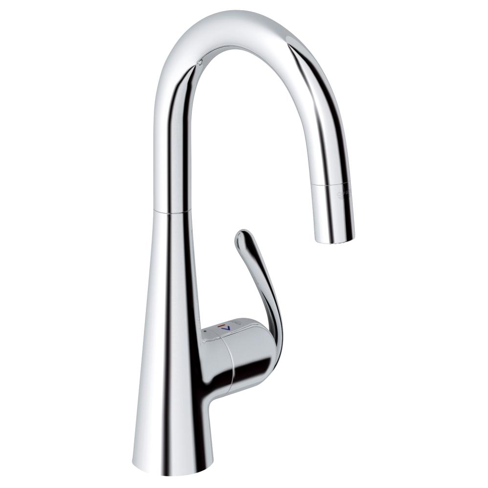 Kitchen Mixer Tap Grohe Zedra With Pull Out Spray Single Lever Swivel Spout 360 Chrome Kitchen Mixer Tap