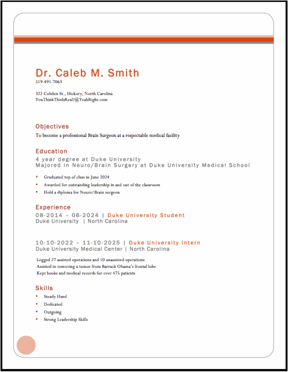 Create A Beautiful And Professional Resume Or Cv With Pdf Resume Dr Caleb M Smith Brain Surgeon