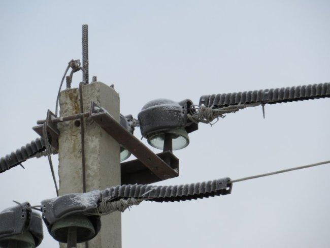 Оголенные провода на столбах ЛЭП, оборудованных ПЗУ, СПК Рассвет. Фото О.А. Горошко
