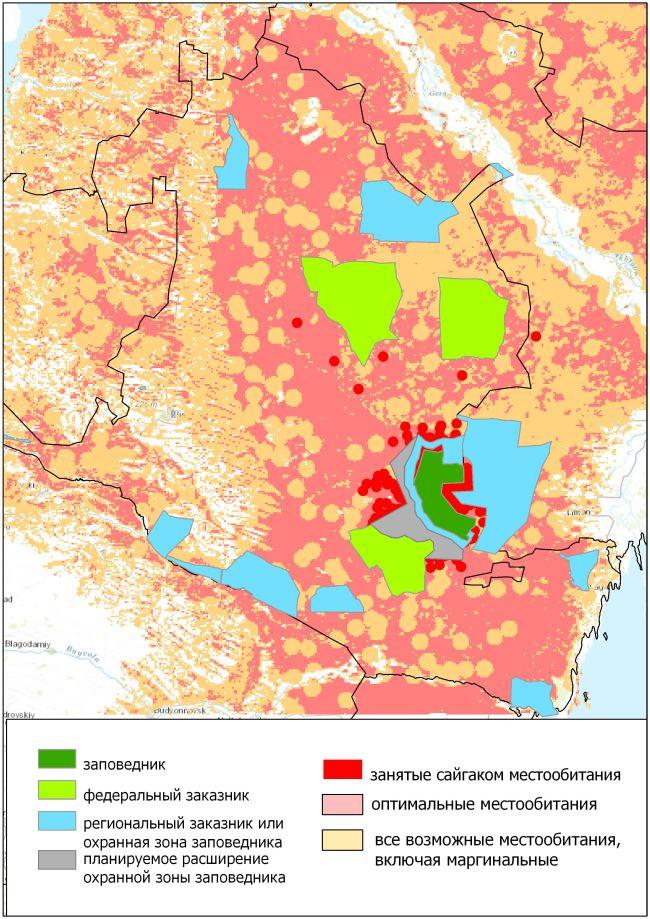 Рис. 4. Местообитания сайгака и ООПТ Республики Калмыкия. Территории, показанные красным цветом, является наиболее перспективными для расширения ООПТ для охраны сайгака в настоящее время