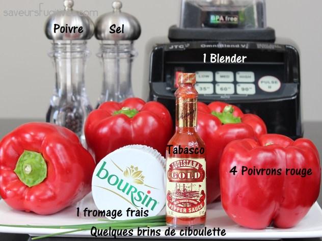 INGRÉDIENTS recette SOUPE poivrons rouge - fromage frais