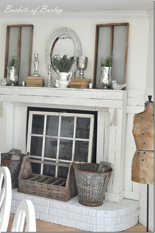 10 fabulous fireplace mantel ideas for summer saving by - Ideas to cover fireplace opening ...