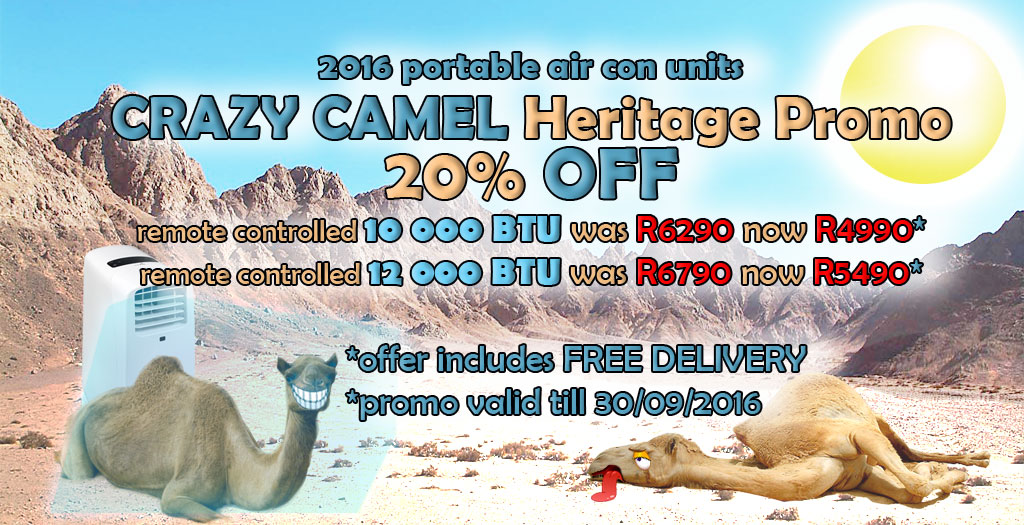Get 20% off your portable Air Con unit + Free delivery on the Cool Camels Crazy Heritage Day Promo! Until 30th September and only on Pre-order!