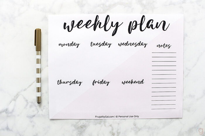 Free Weekly Planner Printable - A5 Half letter + Letter Size - Free Printable Weekly Planner