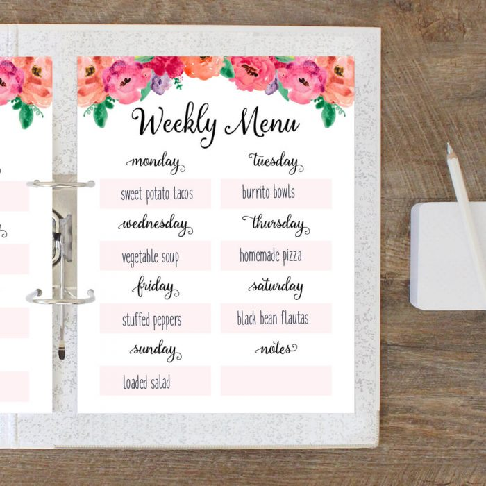 Free Printable Weekly Meal Planner - Time Management Tip