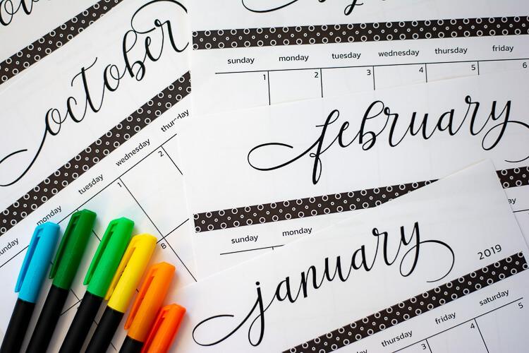 2019 Free Printable Calendar and Template - Savor + Savvy