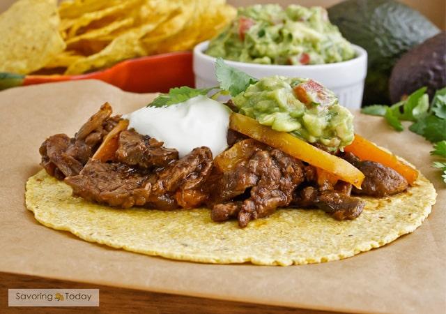 Seasoned beef, peppers and mushrooms in warm tortillas.