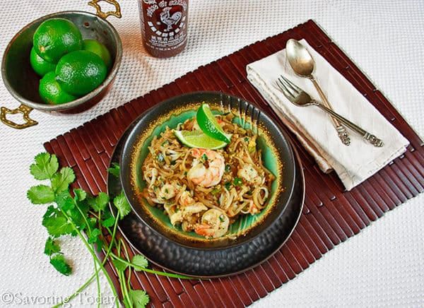 Pad Thai with Shrimp is served with fresh lime -- restaurant quality at home.