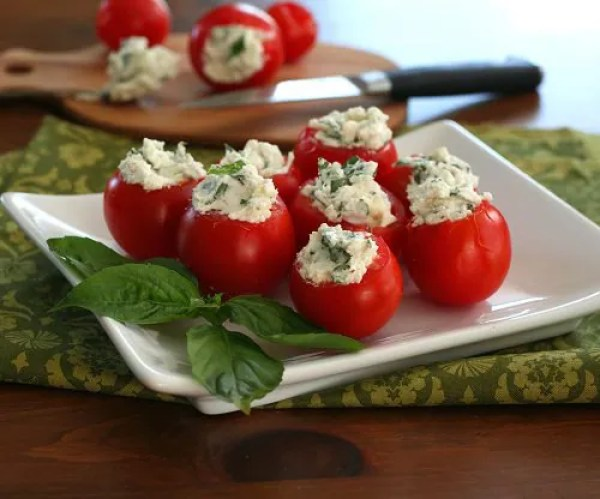 Goat Cheese and Herb Stuffed Tomatoes Recipe for bridal shower or baby shower menu by All Day I Dream About Food