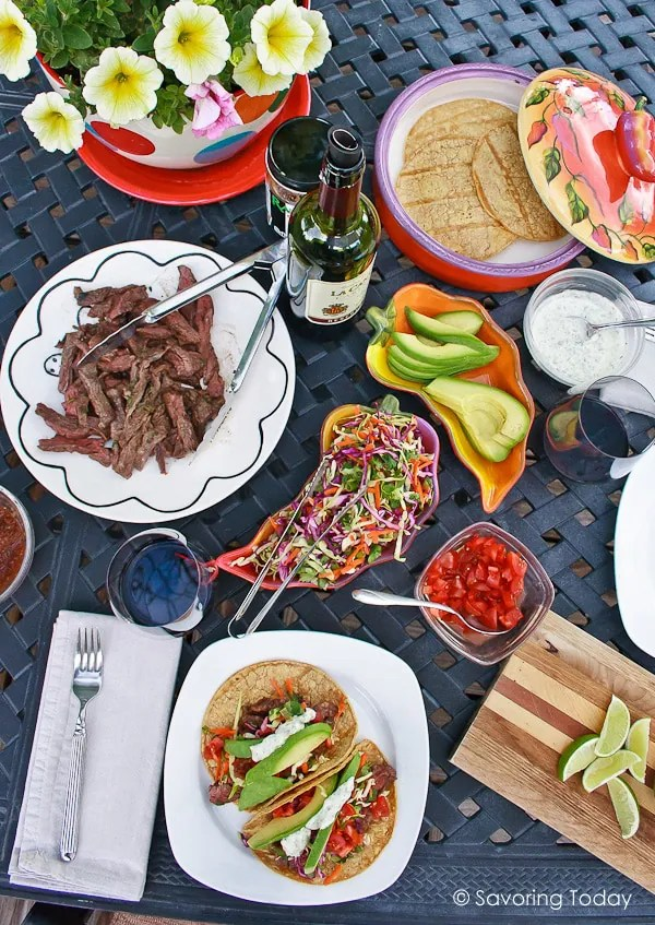 Buttermilk-Cilantro Skirt Steak Taco Recipe is a festive, simple meal from the grill. Easy enough for family dinner or entertaining.