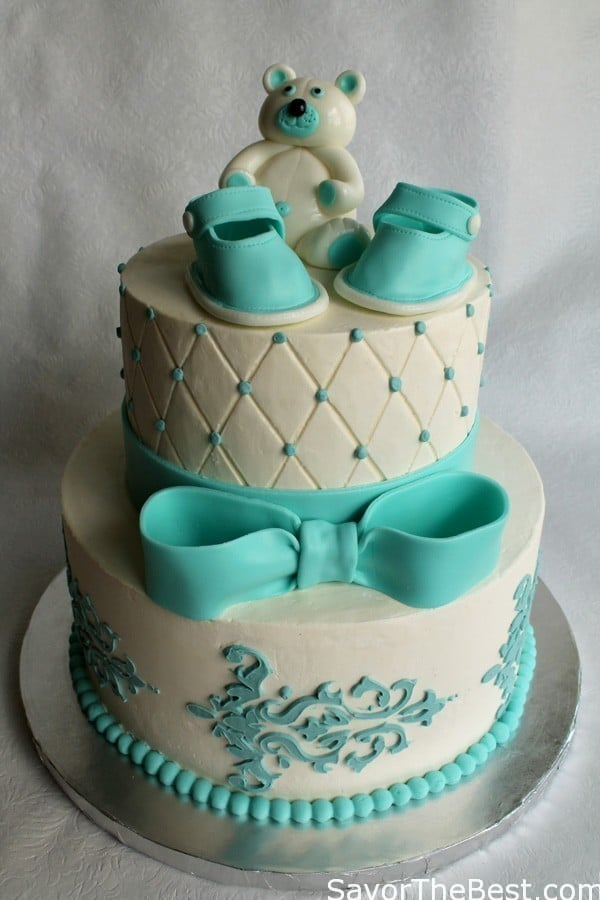 Cake Flavor Ideas For Baby Shower : Baby Shower Cake Design with Fondant Baby Shoes and Teddy ...