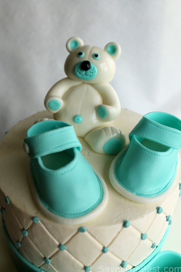 Fondant Cake Ideas For Baby Shower : Baby Shower Cake Design with Fondant Baby Shoes and Teddy ...