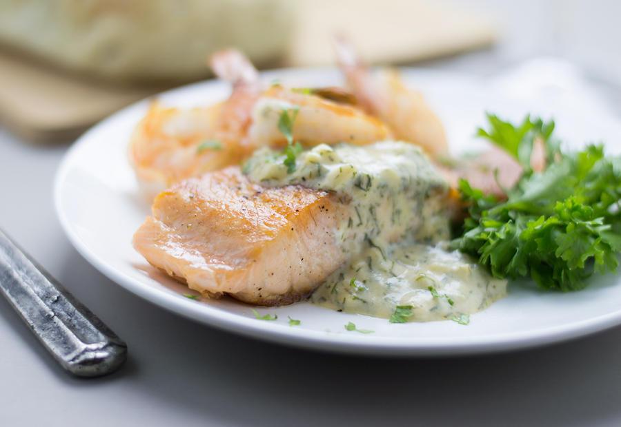 Seared Salmon & Shrimp with Creamy Dill and Dijon Sauce ...