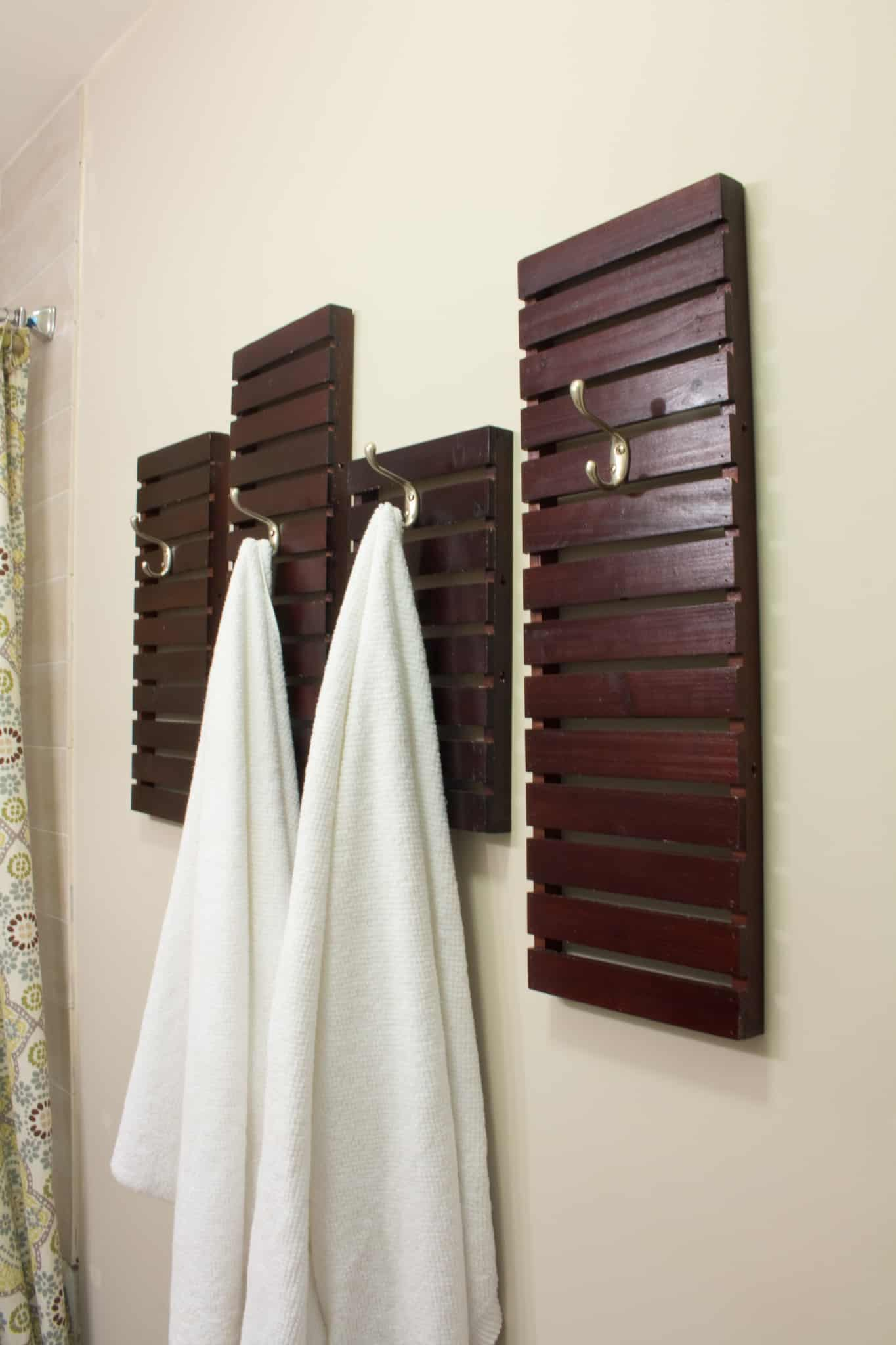 Badkamer Handdoekrek Diy Towel Rack Made From Shelves Thrift Store Upcycle
