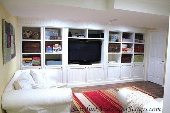 house tour basement tv room sawdust girl